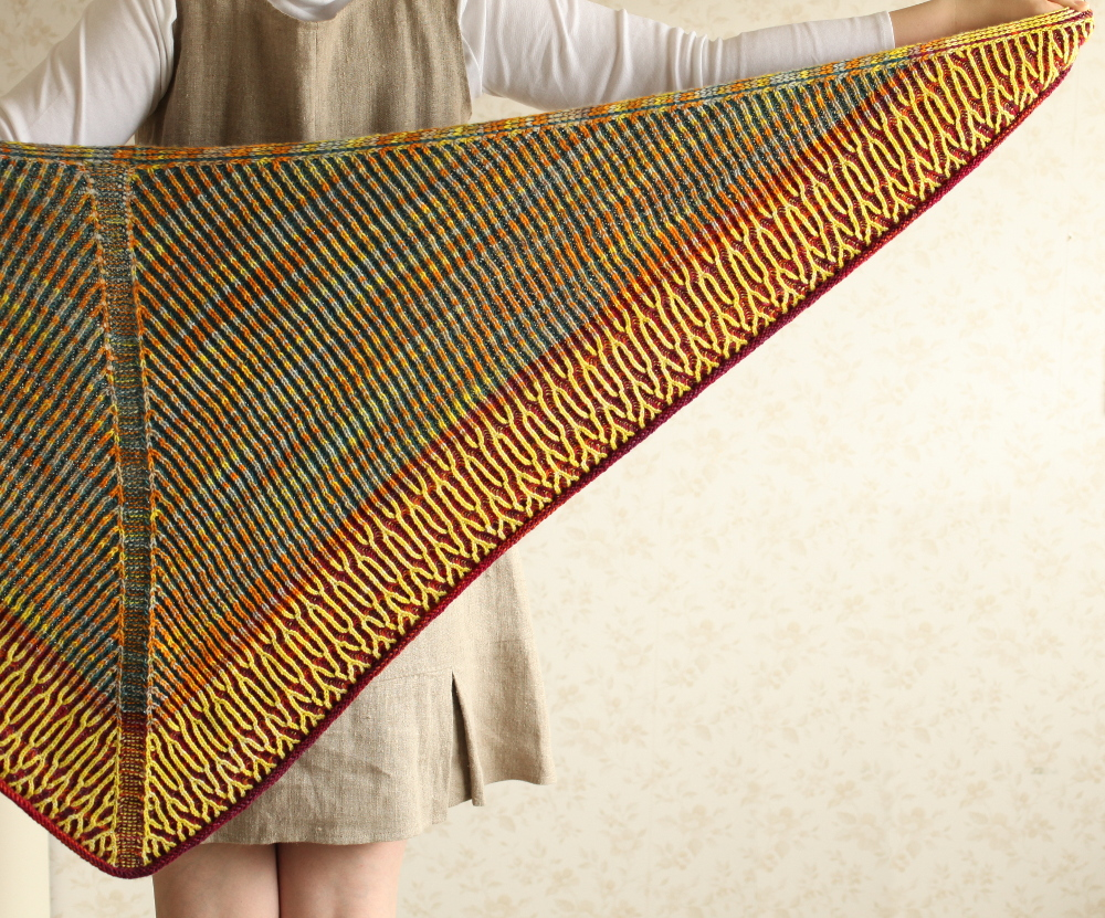 Honka shawl shown on the right side