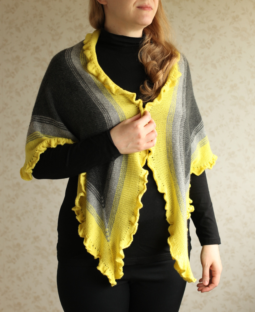 Crayon Fade shawl on the shoulders