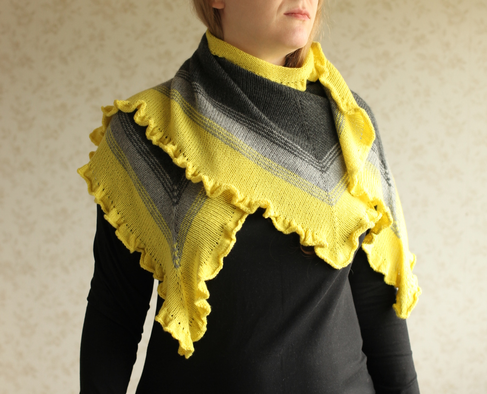 Crayon Fade shawl wrapped around the neck